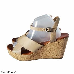 Lucky Brand Leather Cork Heel Wedge Sandals 11